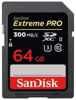 Карта памяти SD 64GB SanDisk SDSDXPK-064G-GN4IN SDXC Class 10 UHS-II Extreme Pro, 300 Mb/sec