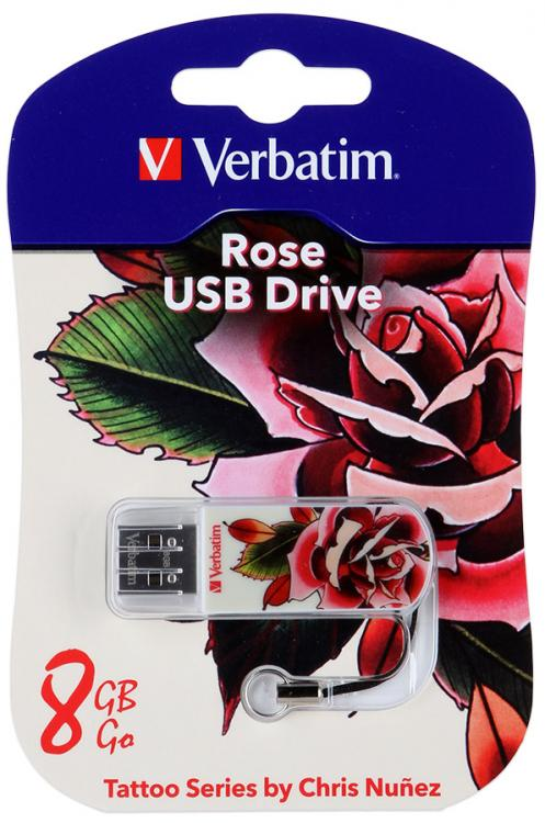 Накопитель USB 2.0 8Gb Verbatim Store n Go Mini TATTOO EDITION rose USB2.0 белый