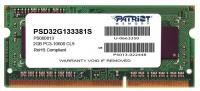 Память Patriot PSD32G133381S DDR3 2Gb 1333MHz RTL PC3-10600 CL9 SO-DIMM 240-pin 1.5В