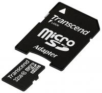 Флеш карта microSDHC 32Gb Class10 Transcend TS32GUSDHC10 + adapter