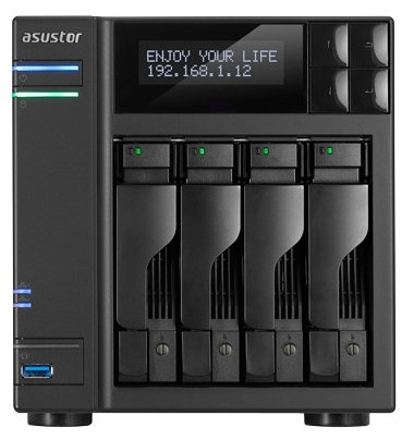 Сетевое хранилище AsusTOR AS6204T 4-Bay NAS/Media player/ Intel Celeron 1.6GHz Quad Core (burst up to 2.08 GHz)/4GBDDR3/noHDD,LFF(SATAll,SATAIII,SSD),