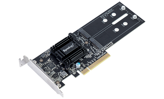 Адаптер Synology M.2 SSD-Sata adapter, LP PCIe 2.0x8 (for DS1819+, DS2419+ , DS1517+, DS1817+, DS3018xs, FS1018, RS1219+, for all xs/xs+ models) up to 2xSSD M.2 2280 / 2260 / 2242 SATA'