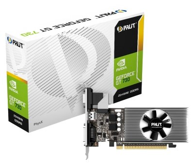 Видеокарта Palit NE5T7300HD46-2081F GeForce GT 730, 2Gb GDDR5/64-bit, PCI-E 2.0 x 8, DVI, HDMI, VGA, 1-slot cooler,, PA-GT730-2GD5