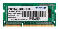 Модуль памяти PATRIOT PSD34G1600L81S SODIMM 4GB PC12800 DDR3L