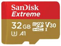 Карта памяти microSD 32GB SanDisk SDSQXAF-032G-GN6AA microSDHC Class 10 UHS-I A1 Extreme for Action Cameras (SD адаптер) 90MB/s